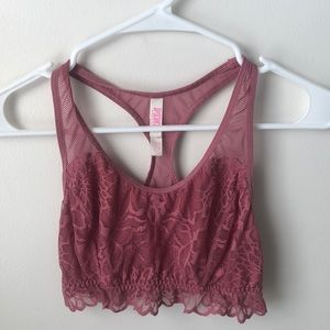 VS Pink Lace Razorback Bralette Sz Small